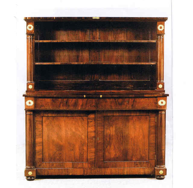 "Item # 11975 Empire Bookcase Cabinet with neoclassic ormolu mounts. England, 19th century. 56"" x 18 1/2"", 64""h Price $3,500"