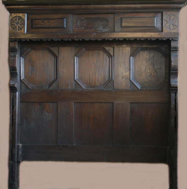 "Jacobean oak bed from Mint House in Pevensey, Sussex. England, Late17th century. 65""w x 78""l x 63""h (converted to accommodate a standard double mattress)"